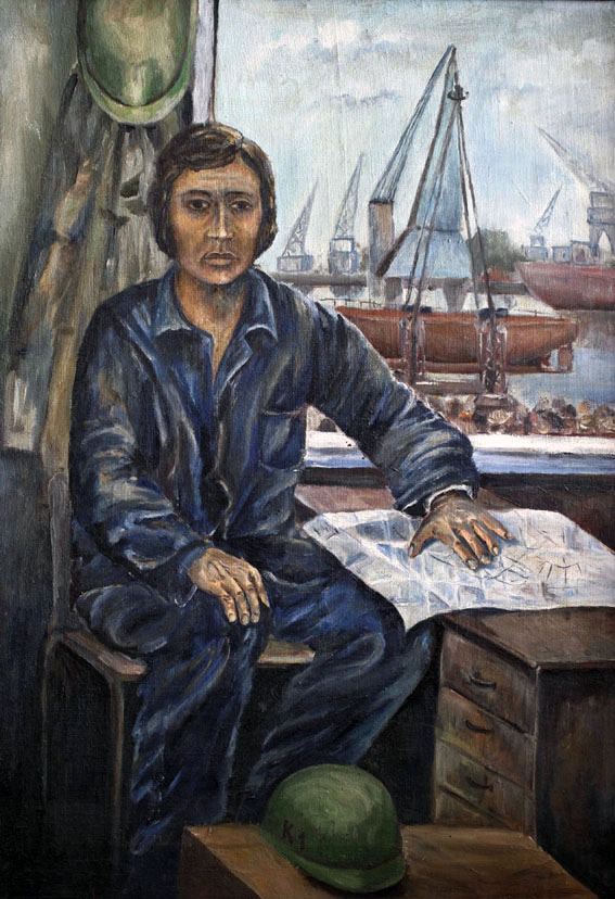 portrait of a shipyard worker. Author or author unknown